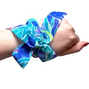 Lilly Pulitzer Blue Scarf Wrapped Bangle Bracelet